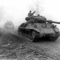 American M36 tank destroyers during Battle of the Bulge during World War II