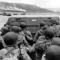 American troops approaching Omaha Beach on Normandy Beach, D-Day, World War II