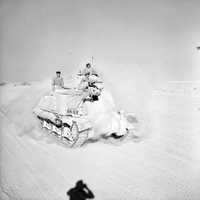 British Grant tank moving up to the front during Second Battle of El Alamein, World War II