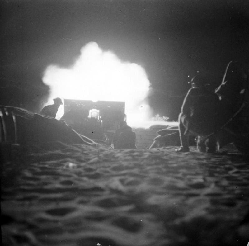 British Night Artillery Barrage at the 2nd battle of El