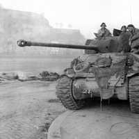 British Sherman Tank, the Firefly at the Battle of the Bulge, World War II