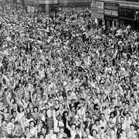 Crowds celebrating V-J Day in Times Square, New York, End of World War II