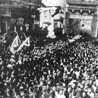 Crowds in Shanghai celebrating V-J Day, End of World War II in China