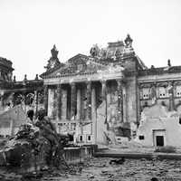The German Reichstag after its capture by the Allies in World War II