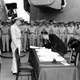 Japanese foreign affairs minister signing Japanese Surrender of World War II