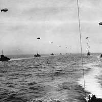 Large landing craft convoy crosses the English Channel in D-day, World War II