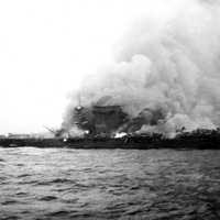 Lexington abandoned and on fire during the Battle of Coral Sea, World War II