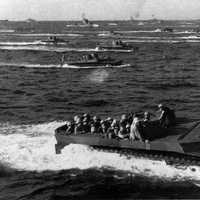 LVTs approach Iwo Jima during World War II