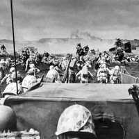 Marines landing on the beach at Iwo Jima, World War II