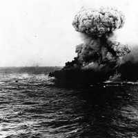 Massive Explosion on the Lexington during the Battle of Coral Sea, World War II