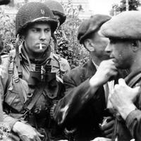Members of the French Resistance and the U.S. 82nd Airborne division in World War II