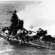 Mikuma shortly before sinking during Battle of Midway, World War II