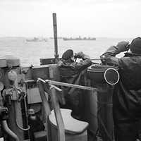Officers on the bridge of an escorting British destroyer, Battle of the Atlantic