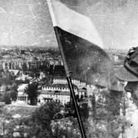 Polish flag raised on the top of Berlin Victory Column after Battle of Berlin