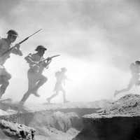 Soldiers of the 9th Australian Infantry Division on the attack, Second Battle of El Alamein