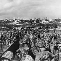 U.S. Marine reinforcements wade ashore in Okinawa, World War II
