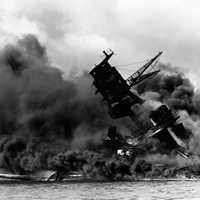 USS Arizona Sunk during the attack on Pearl Harbor, World War II