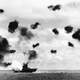 USS Yorktown being hit by a Torpedo during World War II, battle of Midway