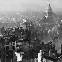 View of London after the German Blitz in 1940 during World War II