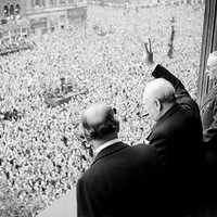 Winston Churchill Waves to Crowd After V-E Day,End of War in Europe