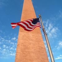 American Flag at the side of the Washington Monument