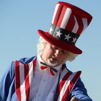Man dressed in Uncle Sam Uniform