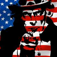 Uncle Sam in front of American Flag