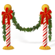 Candycane Poles with Mistletoe Christmas Decorations