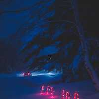 Lighted Candy Canes in the snow Christmas Decorations