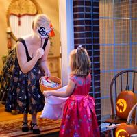 Little Girl Trick or Treating on Halloween