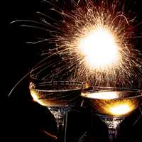 Fireworks Sparklers with two glasses of Champagne