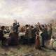 First Thanksgiving at Plymouth , Massachusetts between Pilgrims and Indians