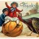Thanksgiving Postcard with Pumpkin and Turkey with boy on top