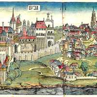 Budapest during the middle ages from the Nuremberg Chronicle in 1493 in Hungary