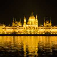 Budapest lighted up at night in Hungary