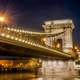Closeup of the Bridge at night with the lights in Budapest, Hungary
