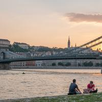 Dusk by the Buda Castle Hill and the Chain Bridge in Budapest, Hungary