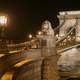 Stone Chain Bridge by night in Budapest, Hungary