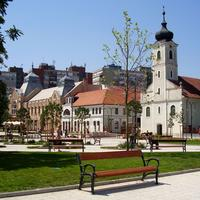 Main Square with buildings in Godollo, Hungary