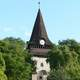 Belfry of the Gothic church in Miskolc, Hungary