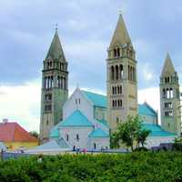 Cathedral with steeples in Pecs, Hungary