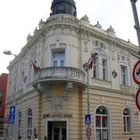 Downtown street corner and building in Zalaegerszeg, Hungary