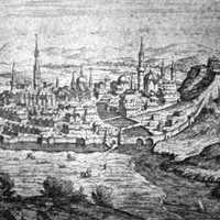 Eger in the 16th century vintage illustration in Hungary