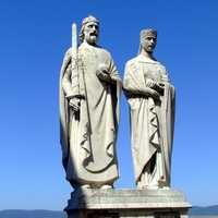 Statue of King Stephen I. and Queen Gisela in Veszprem, Hungary