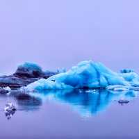 Blue Icebergs on the water