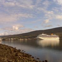 Cruise ship in the harbour in Akureyri, Iceland