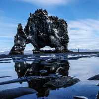 Large rock structure among the tide pools in Hvitserkur, Iceland