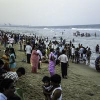 Crowd at the beach in the evening in Chennai, India