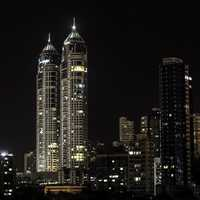 Night skyscrapers with lights in Mumbai, India
