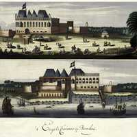 Two views of the English fort in Bombay, India